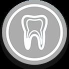 icono gris de diente blanco